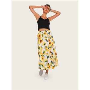 Bohemian printed elastic waist A word big swing skirt beach skirt half length skirt