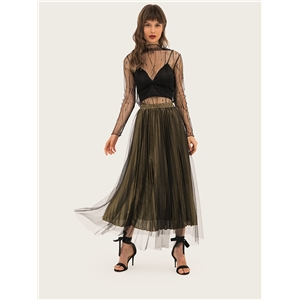 Mesh pleated skirt skirt high waist a word skirt large swing skirt