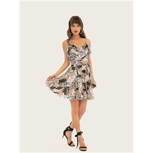Sleeveless waist print strap dress Ruffled holiday skirt