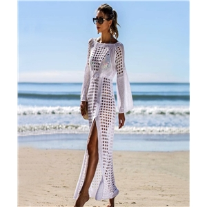 Sexy openwork knit beach skirt long-sleeved split skirt holiday dress swimsuit outer cover sunscreen clothing