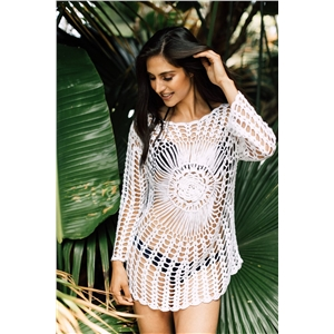 Sexy hand hook blouse beach openwork bikini sunscreen shirt