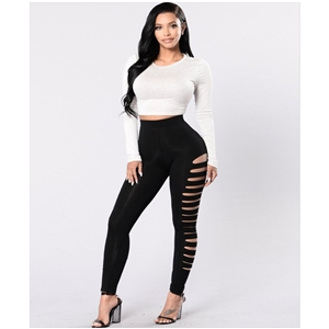 Casual black high waist stretch side hollow hole tight leggings