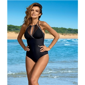 Ladies sexy one-piece mesh bikini hot stamping color swimsuit