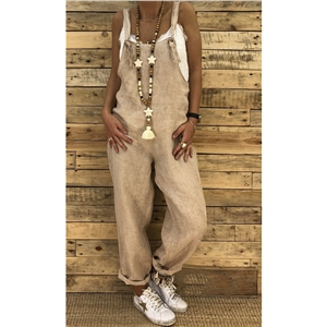 Loose casual large size linen cotton one-piece overalls