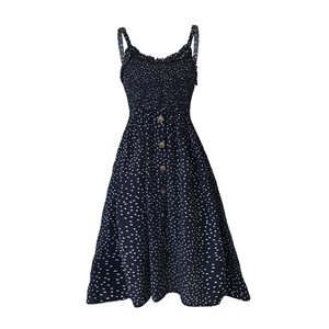 Sling ruffled wave dot print a row of button dresses
