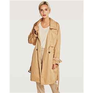 Women's long lapels trench coat