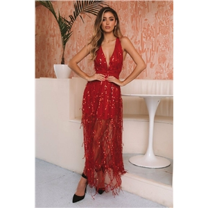 Red Plunge Sequin Detail Open Back Cami Maxi Dress