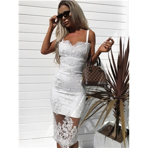 Black and white two-color mesh embroidered luxury strap dress