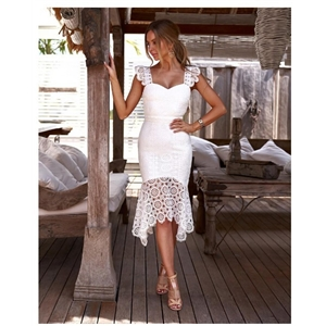 White water soluble crochet dress maxi skirt