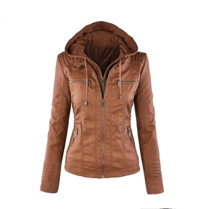Long sleeve women's zipper leather jacket short jacket