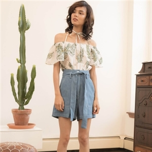Ins wind shoulder strap suspender printing short sleeve