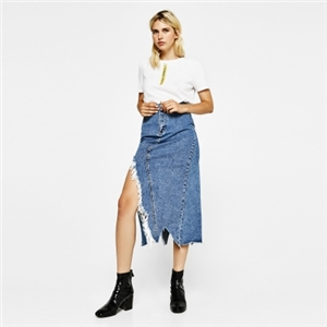 Fashion personality casual irregular raw edge split denim skirt