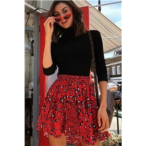 Fashion leopard skirt skirt ruffled skirt autumn dress