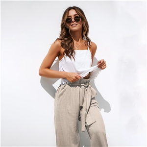 Four-color straps wide-leg spring and summer casual trousers