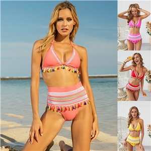 Tassel stitching two-piece bikini swimsuit
