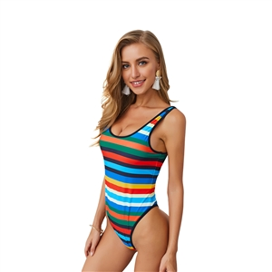 Sexy Striped Print Sling Halter Women's One Piece Swimsuit
