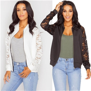Black and white summer casual zipper cardigan lace coat
