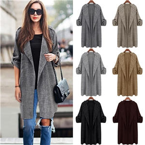 Autumn and winter large size women's loose thin long-sleeved jacket in the long trench coat
