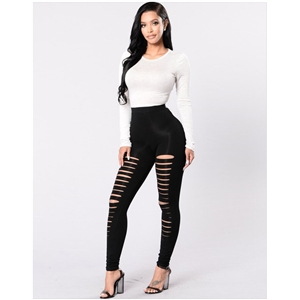 Black high waist tight skinny hole leggings women's straight pants