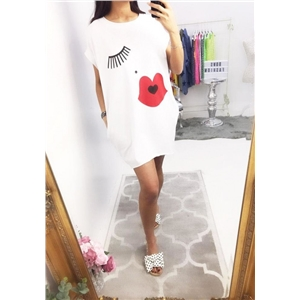 Lip Eyelash Print Short Sleeve Loose Dress