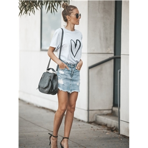 Love Print Round Neck Short Sleeve Loose T-Shirt Top