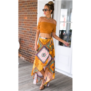 Bohemian printed swallowtail irregular half length skirt