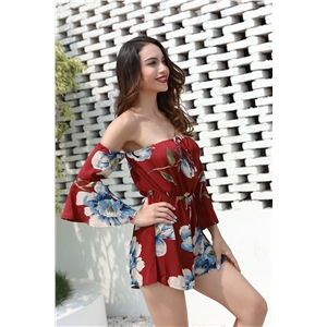 Red fashion sexy word shoulder trumpet sleeve print jumpsuit shorts