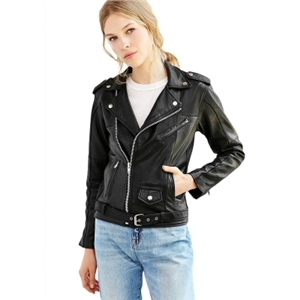 Black retro side zip pocket decorated moto jacket