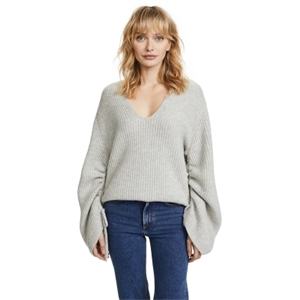 V-collar loose-wrinkled rope-pulling sleeve sweater