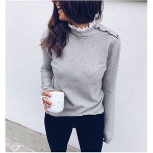 Round neck lace stitching shoulder button design long sleeve sweater