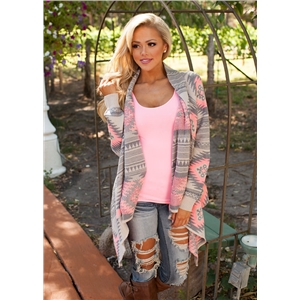 Fashion color matching irregular long sleeve sweater cardigan