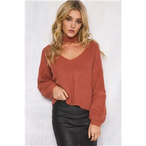 V-neck three-dimensional knit decorative zipper decorative pullover loose short knit sweater