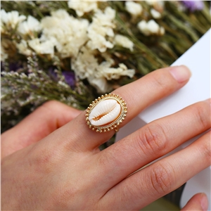 Creative alloy inlaid shell open ring jewelry