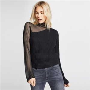 Asymmetric high-collar sweater with mesh splicing