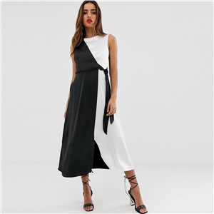 Black and white colorblock lace-up sleeveless midi dress