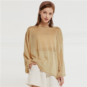Beach simple casual wind loose perspective solid color round neck sweater pullover sunscreen clothing