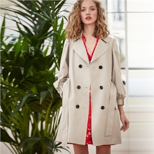 Temperament French Romantic Lantern Cuff Lapel Belt Double-breasted Trench Coat