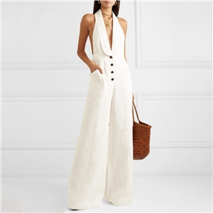 Pure color wide leg casual pants loose sexy deep V neck hanging neck jumpsuit