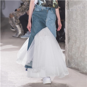Denim skirt pleated mesh stitching fairy skirt female spring and summer fishtail skirt