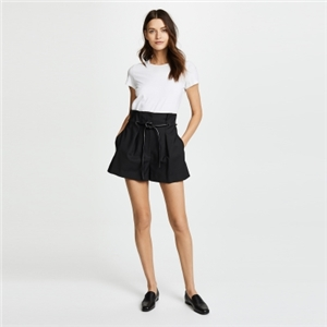 Pleated casual faux leather drawstring A-shaped easy to wear shorts women