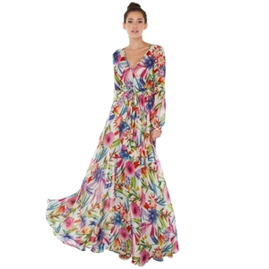 Multicolor Floral Print Wrap Tie Waist Maxi Dress