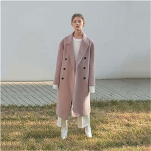 Simple and elegant lady bean color double-breasted large profile drop shoulder lapel long coat thickening