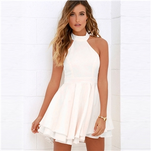 Halter Cut Out Back Double Layer Pleated Skater Dress
