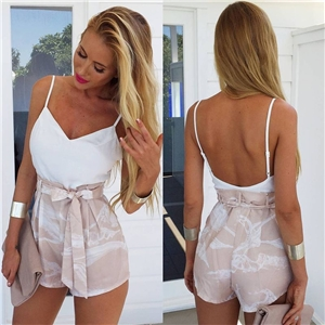 White camisole printed casual wide leg one-piece shorts two-piece