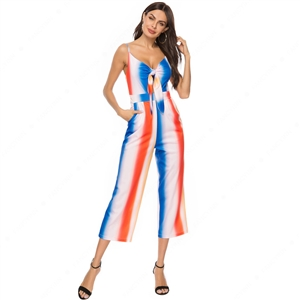 Rainbow Cross Strap Sexy Halter Jumpsuit