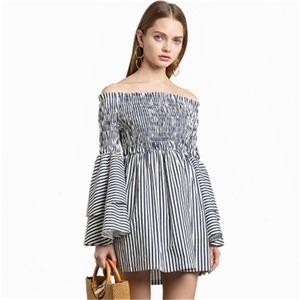 Striped sexy word shoulder sweet tiered ruffled sleeves pleated high waist dress