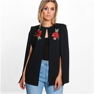 Black fashion large size cloak with flower embroidery coat