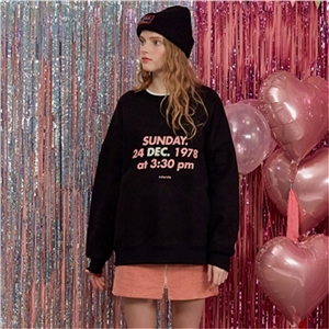Casual sports black round neck letter printing embroidery plus velvet pullover sweater