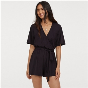 Deep V-neck front mid-rise waist stitching strap backless sexy waist short-sleeved jumpsuit