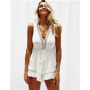White V-neck sleeveless stitching solid color short jumpsuit